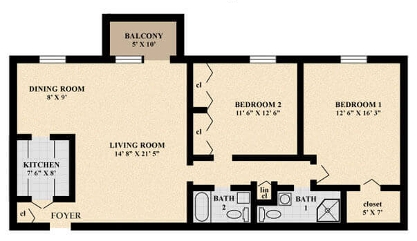 The Aintree Apartment floor plan