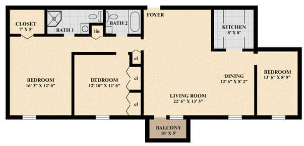 The Amesbury Apartment floor plan