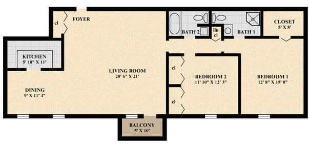 The Brentwood Apartment (Deluxe) floor plan
