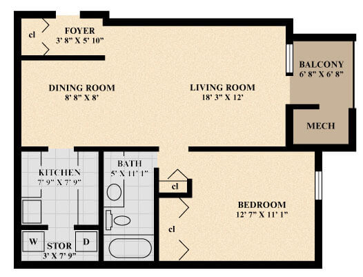 The Princess Apartment floor plan