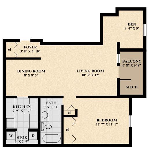 The Queen Apartment (with Den) floor plan